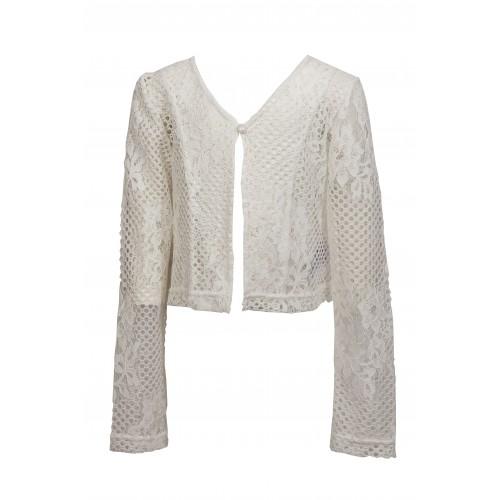 Ζακέτα κιπούρ λευκή 656 M&B Fashion